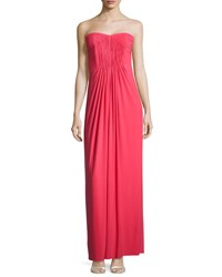 Laundry By Shelli Segal Strapless Pleated Bodice Gown Coral Rage
