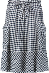 Sea Gingham Crinkled Stretch Cotton Skirt Storm Blue