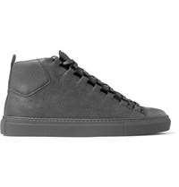 Balenciaga Arena Full Grain Leather High Top Sneakers Green