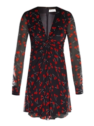 Saint Laurent Cherry Print Chiffon Dress