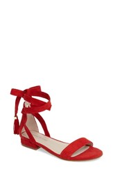 Kenneth Cole Women's New York Valen Tassel Lace Up Sandal Red Suede