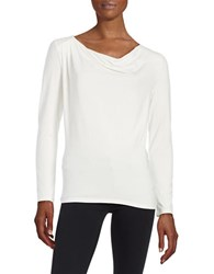 Lord And Taylor Iconic Fit Drape Front Blouse Ivory