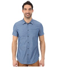 Calvin Klein Jeans Refined Slub Aegean Blue Men's Short Sleeve Button Up