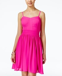 Xoxo Juniors' Sleeveless Pleated Fit And Flare Dress Pink