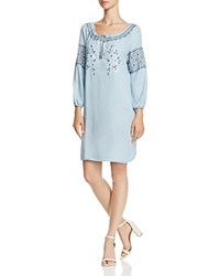 Cupcakes And Cashmere Rosabel Embroidered Chambray Peasant Dress