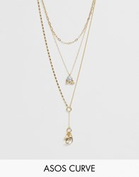 Asos Design Curve Multirow Necklace With Celestial Charms And Delicate Lariat Profile In Gold