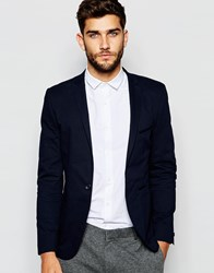 Vito Super Skinny Cotton Suit Jacket Navy