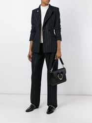 Cedric Charlier Pinstriped Double Breasted Blazer Black