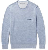 Outerknown Buenas Noches Baby Alpaca And Organic Cotton Blend Sweater Blue