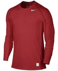 Nike Men's Pro Cool Dri Fit Fitted Long Sleeve Shirt Gym Red