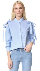 Clu Open Shoulder Shirt With Bow Blue Stripe