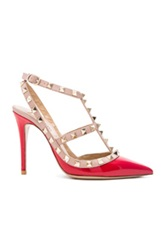 Valentino Rockstud Patent Leather Slingbacks T. 100 In Red