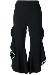 Jonathan Simkhai Ruffled Cropped Trousers Black
