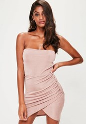 Missguided Nude Bandeau Ruched Side Bodycon Dress Beige