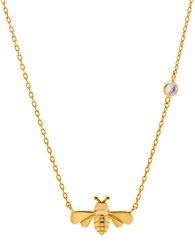 Lord And Taylor Sterling Silver Dragonfly Pendant Necklace Gold