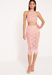 Missguided Feather Hem Lace Midi Skirt Pink Pink