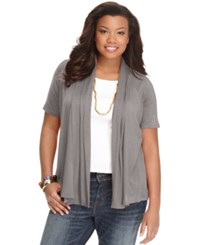 Ing Plus Size Short Sleeve Open Front Cardigan Grey