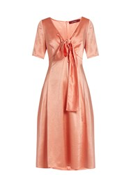 Sies Marjan Tie Front V Neck Satin Dress Pink