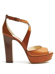 Jimmy Choo April 120Mm Block Heel Sandals Tan