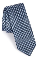 Men's The Tie Bar Check Silk Tie Navy