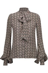 Talitha Pussy Bow Printed Silk Blouse Multi