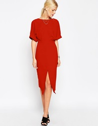 Asos Wiggle Dress With Split Front Rust