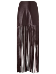 Theperfext Wine Leather Fringe Mimi Skirt Burgundy