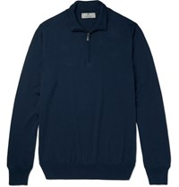 Canali Cotton Half Zip Sweater Blue