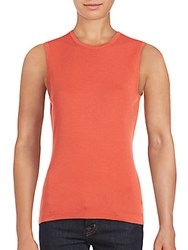 Carolina Herrera Crewneck Cashmere And Silk Tank Top Coral