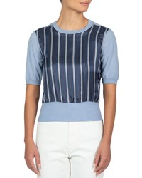 Eleventy Striped Silk Front Knit Top Blue