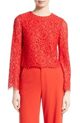 Alice Olivia Women's Pasha Lace Bell Sleeve Top Poppy