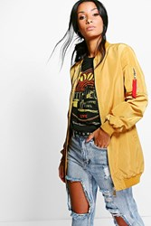Boohoo Ma1 Bomber Jacket With Tape Detail Mustard