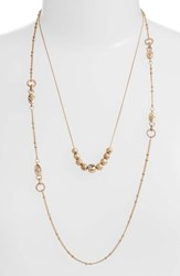Treasure And Bond Multistrand Sphere Station Necklace Clear Multi Gold