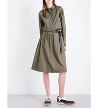 Brunello Cucinelli Chain Embellished Cotton Poplin Shirt Dress Military Green