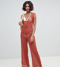 Akasa Grid Mesh Beach Jumpsuit In Spice Black