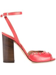 Scanlan Theodore Studded Block Heel Sandals Red