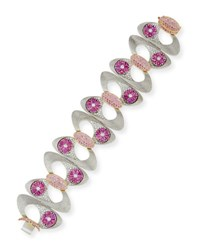 N M Jewelry Shop Pink Sapphire And Diamond Bracelet In Brushed 18K White Gold