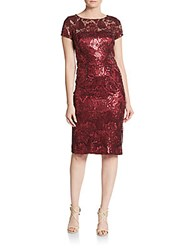 David Meister Sequined Tapestry Dress Garnet