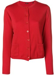 Aspesi Cropped Cardigan Red