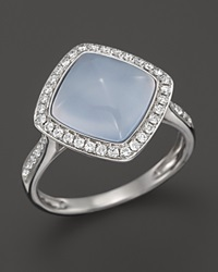 Bloomingdale's Chalcedony And Diamond Ring In 14K White Gold Blue