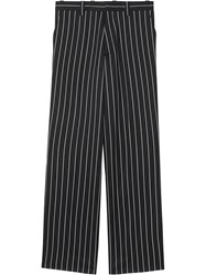 Burberry Pinstriped Stretch Wool Wide Leg Tailored Trousers Black