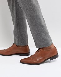 Frank Wright Toe Cap Derby Shoes In Tan Leather