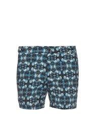 Danward Leaf Print Solid Swim Shorts Blue Multi