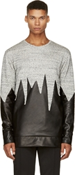 Pyer Moss Heather Grey And Black Leather Master Slice Sweater