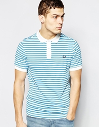 Fred Perry Polo Shirt With Breton Stripe Slim Fit Blue