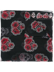 Alexander Mcqueen Rose And Skull Print Scarf Black