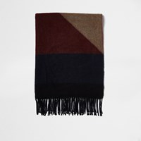 River Island Grey And Camel Blocked Blanket Scarf