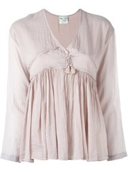 Forte Forte Gathered Tassel Blouse Pink And Purple