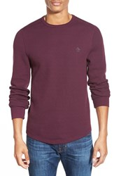 Men's Original Penguin Reversible Waffle Knit Long Sleeve Shirt Italian Plum