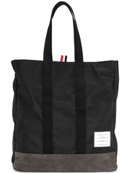 Thom Browne Unstructured Tote Bag In Nylon And Suede Black